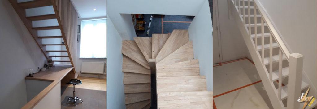 Realisation escalier en bois sur mesure - Wood and Light Bruxelles